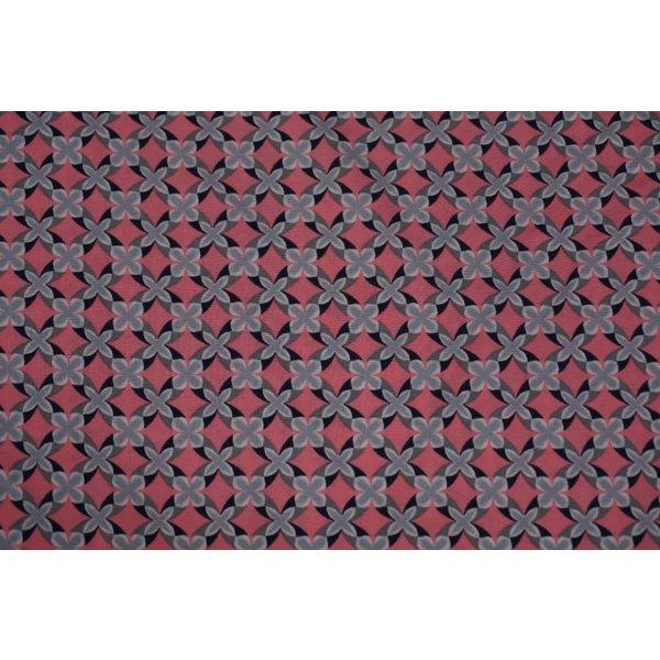 Polyester stretch in rose met grijs