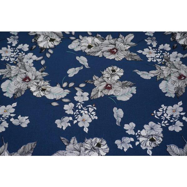 Half linnen bloemen op denimblauw