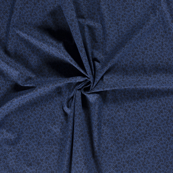 Jeansstof bedrukt met zwarte bloemetjes