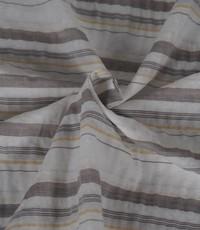 Streepjes stof wit met taupe