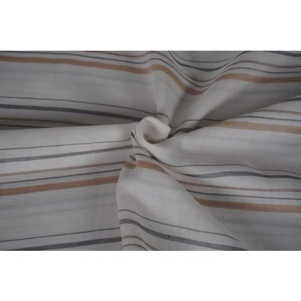 Streepjes stof wit met grijs en beige