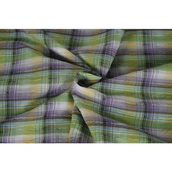 Ruitjes stof crinkle wit met lila groen en geel