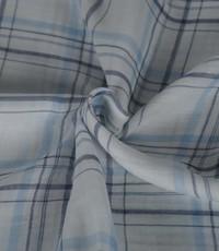 Ruitjes stof wit met jeansblauw en lurex