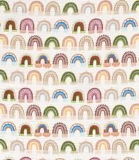 Mousseline stof met regenboogjes