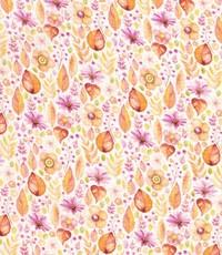 Mousseline stof met print van oranje en roze bloemetjes