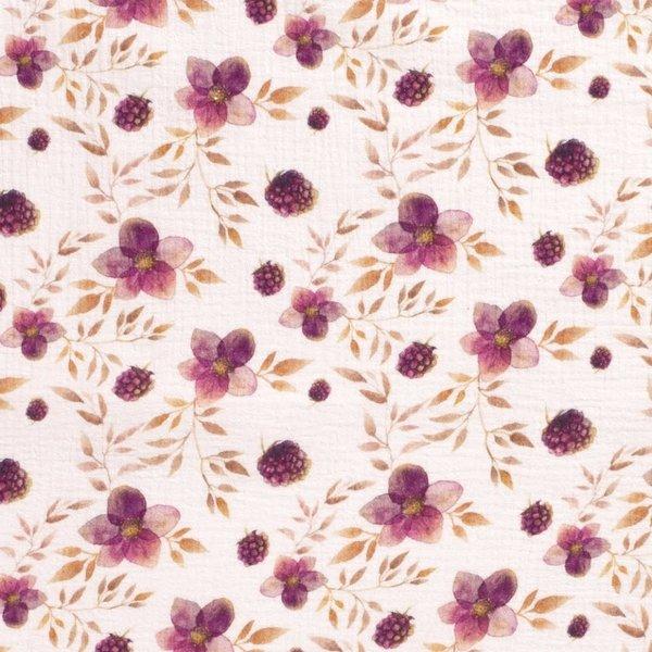Mousseline stof met print bloemetjes en braampjes