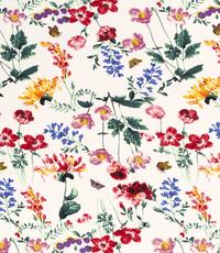 Polyester crepe in wit met veldbloemen