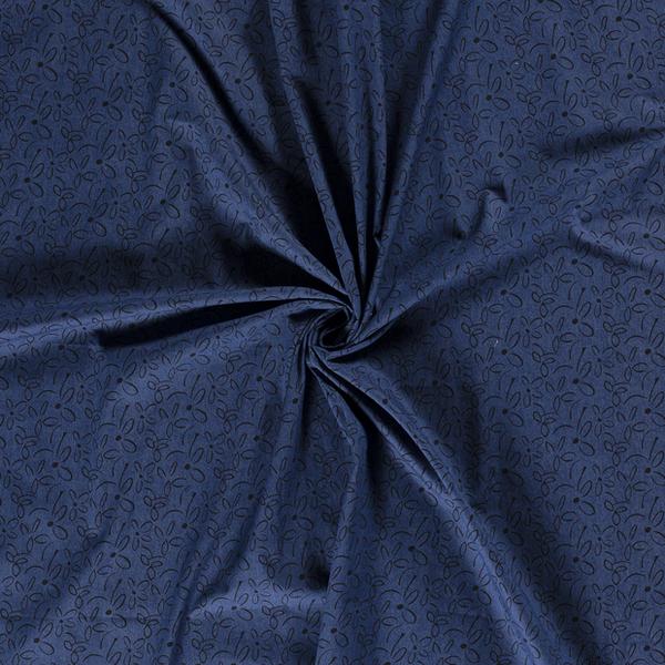 Chambray denim stof met zwarte bedrukking