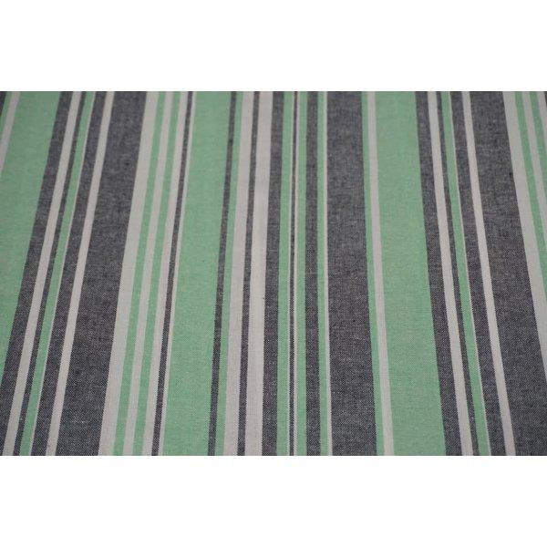 Halflinnen stof in een gestreept groen motief