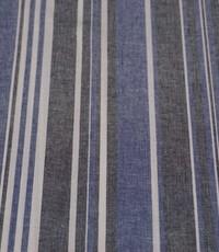 Halflinnen stof gestreept jeansblauw