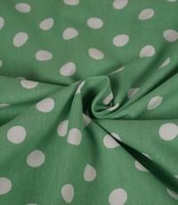 Halflinnen stof gestippeld groen