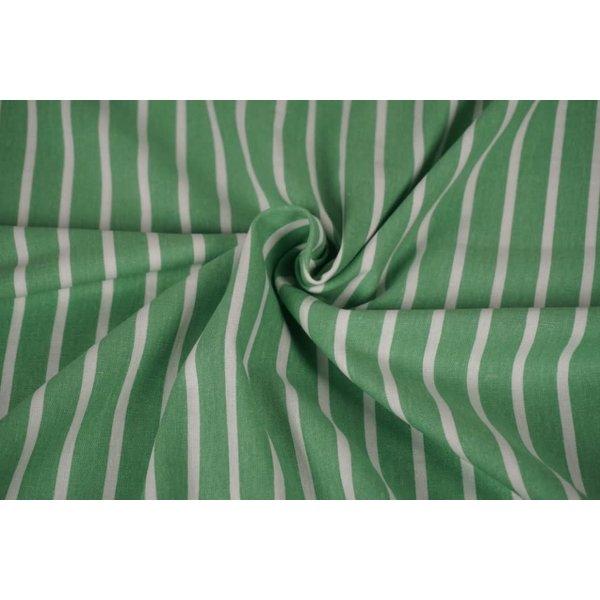 Halflinnen stof dik gestreept groen