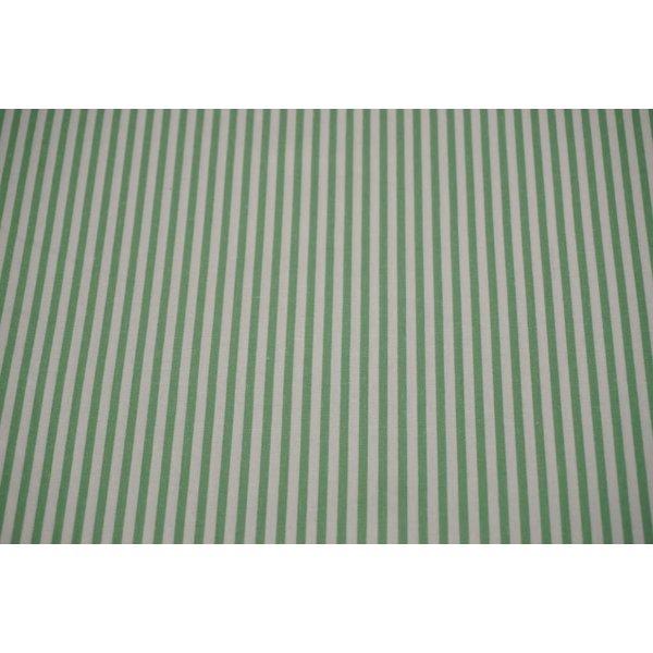 Halflinnen stof dun gestreept groen