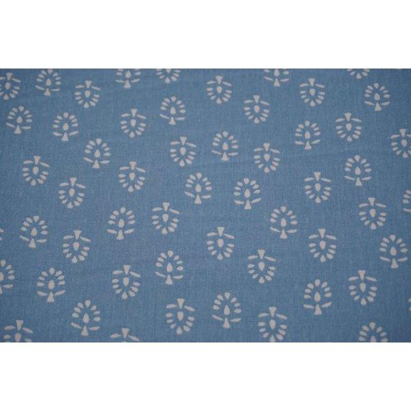 Linnenmix met motief van boompjes blauw
