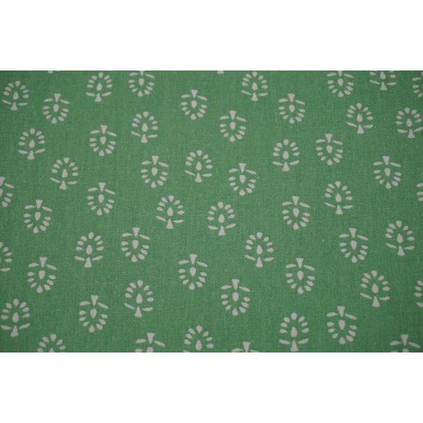 Linnenmix met motief van boompjes groen
