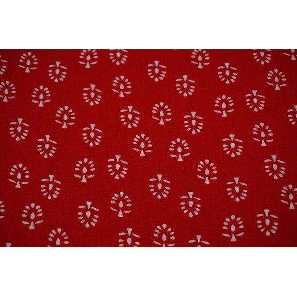 Linnenmix met motief van boompjes rood