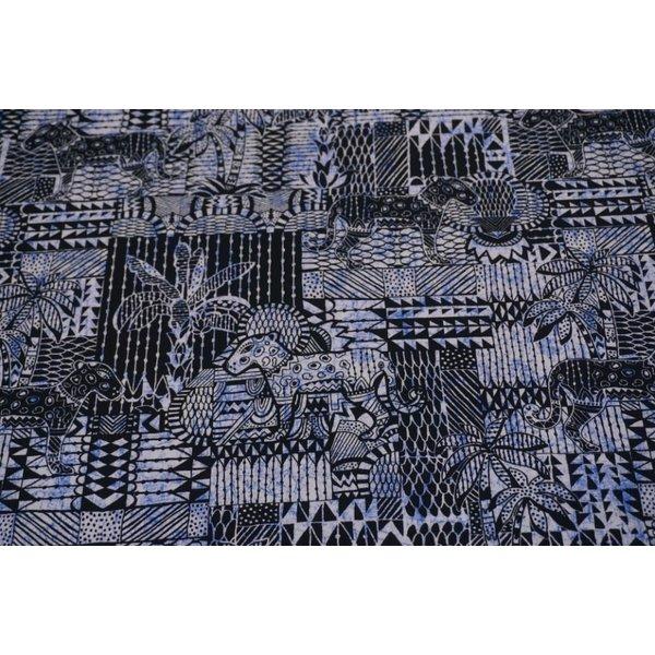 Tricot stof met Inka print blauw