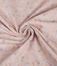 Katoenen stof met veertjes oud roze