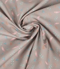 Katoenen stof met veertjes grijs