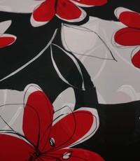 Chiffon met dessin van grote rode bloem