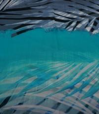 Chiffon met aqua en zeegroen bladprint