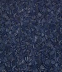Jeansblauwe viscose met fantasieprint en lurex
