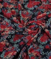Donkerblauwe viscose met rozenprint en lurex