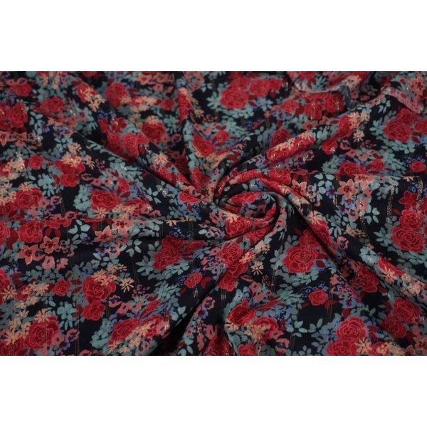 Donkerblauwe viscose stof met rozenprint en lurex