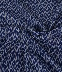Jeansblauwe viscose met vlekprint en lurex