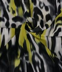 Chiffon in dierenprint met citroengeel