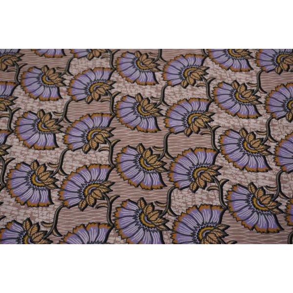 Popeline stof met Afrikaanse print met lila