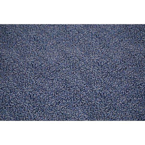 Popeline stof in jeansblauw met kleine blaadjes