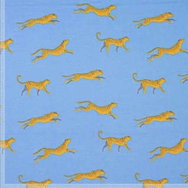 Tricot stof  met gele luipaarden