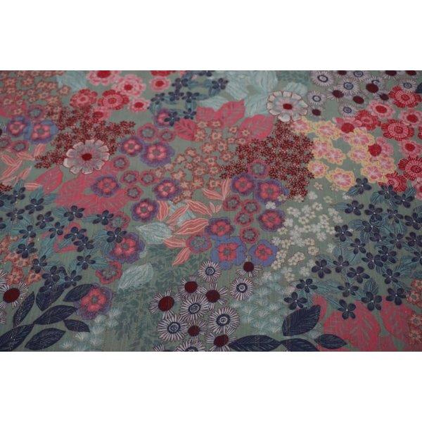 Mintgroene viscose stof met bloemenprint en lurex