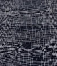 Blauwe stretch katoen met witte strepen