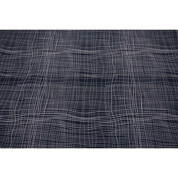 Blauwe stretchstof met witte strepen
