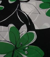Chiffon in zwart wit en groene bloem