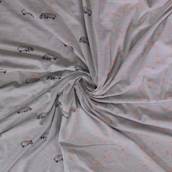 Tricot stof met nijlpaardjes blauw