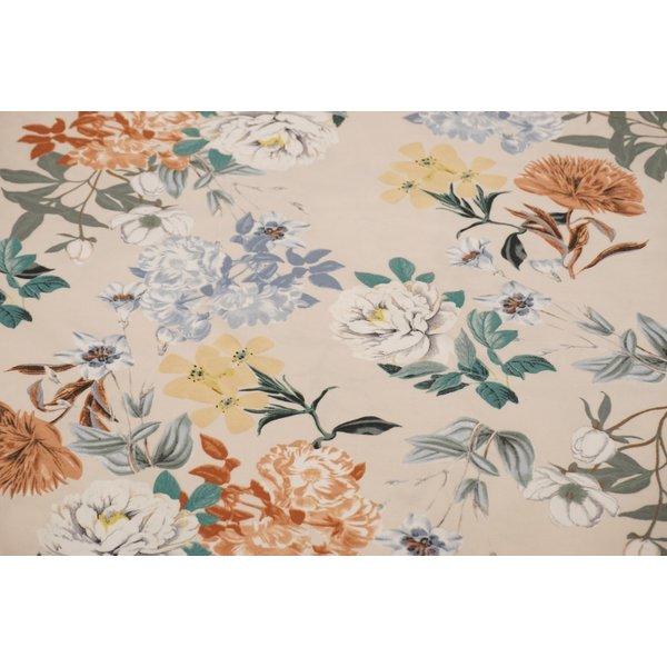 Tricot stof met beige bloemen