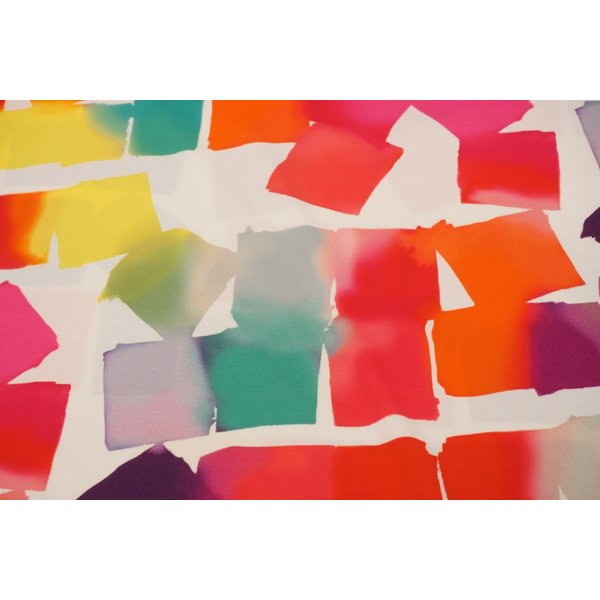 Tricot stof met felle vierkanten