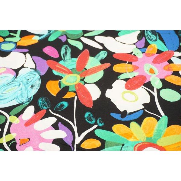 Tricot stof met kleurrijke bloemen