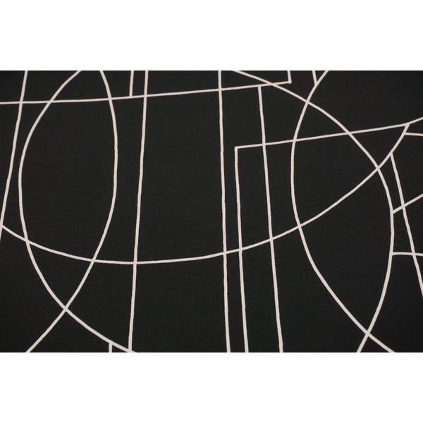 Zwarte Tricot stof met witte lijntjes