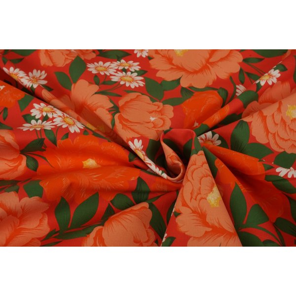 Stretch katoen stof met mooie bloemen