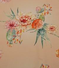 Zalmkleurige stretch katoen met bloemen