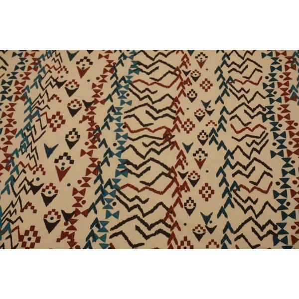 Stretch katoen stof  met inca-vormen