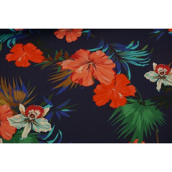 Stretch katoen stof met kleurrijke bloemen