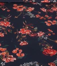 Viscose donkerblauw met rode asters