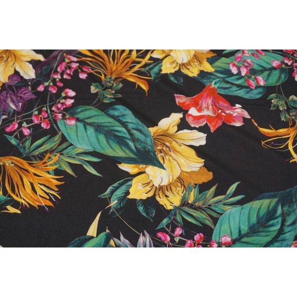 Viscose met print van tropische bloemen
