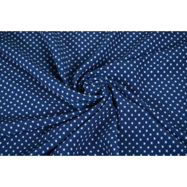 Kobaltblauwe stof met witte sterretjesprint