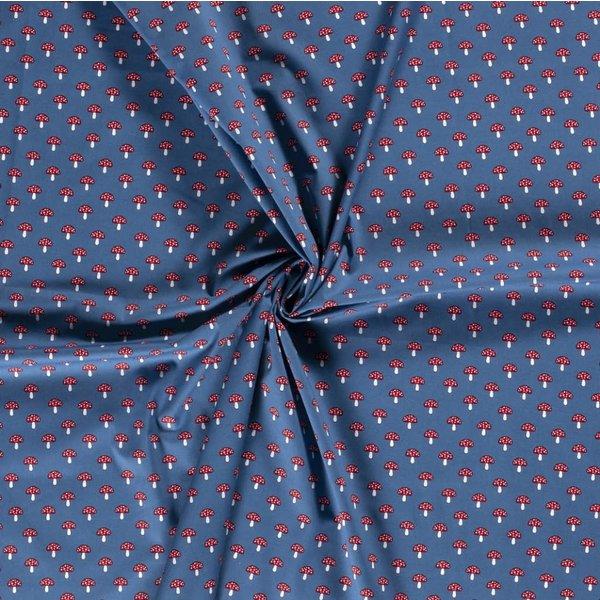 Popeline stof jeansblauw met paddenstoelendessin
